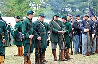 Group of Union Army soldiers before drawn up in battle formation, Civil War reenactment, Bensalem, Pennsylvania, USA