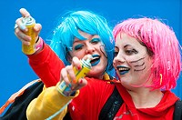 Europe. France, Alpes-Maritimes. Nice. Carnival. Two friends playing.