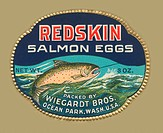 A label from a can of salmon caviar packed in Ocean Park, Washington.