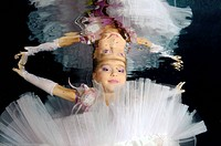 Underwater model presenting fashion in pool, Odessa, Ukraine, Eastern Europe