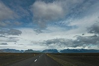 Road through barren landscape, Iceland