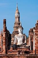 Sitting Buddha inside Wat Mahathat, Sukhothai, Thailand