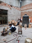 China, Suzhou, wood carving workshop                                                                                                                  ...
