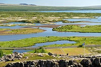 View across Þingvellir Thingvellir National Park in southwestern Iceland. It is a rift valley marking the edge of the mid_Atlantic ridge. It was the f...