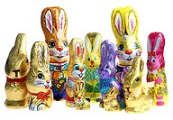 Different kinds of chocolate Easter bunnies