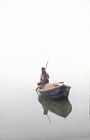 India, rowing boat on the Ganges                                                                                                                      ...
