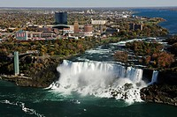 The Niagara Falls, view from above from a lookout tower, Niagara Falls, Ontario, Canada, North America