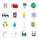 Environmental and ecologic symbols icon set