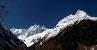 Panorama Caucasus Mountains. Dombay. Sofrudzhu, Belalakaya.