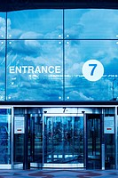 Modern Airport entrance, toned cold