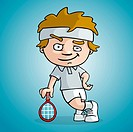 A tennis player draw cartoon style