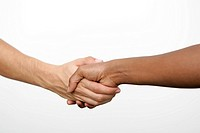 Two people doing handshake, isolated on white