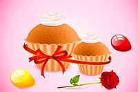 illustration of ribbon wrapped cup cake with balloons and rose