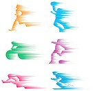six abstract sportsman pattern design.