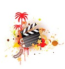 A vector illustration of decorative background with palm trees, grunge circles and movie clapper board