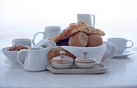 Continental breakfast against white background