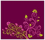 Beautiful purple and green floral design vector illustration