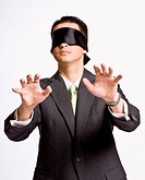 Businessman in blindfold