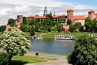 The Wawel Royal Castle in Cracow, Poland built in 14th at the behest of Casimir III the Great, rebuilt by Jogaila and Jadwiga of Poland. Vistula river...