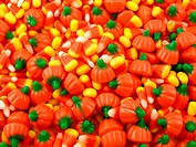 A surface covered with Halloween candy