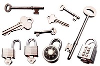 Keys and padlocks isolated over white background