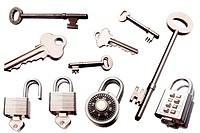Keys and padlocks isolated over white background