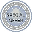 An illustrated badge that declares a special offer. All on white background.