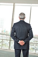 Businessman Seen From Behind Looking out Office Window
