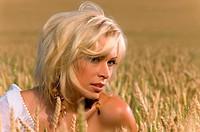 beautiful blonde sitting on a field of wheat