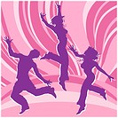 Dancing people, silhouette guys and girls in colour rainbows, illustration