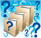 Paper empty packages for packing foodstuff with signs on questions, shopping illustration