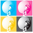 Mother and daughter _ colored versions, editable vector illustration