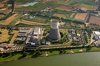 Aerial view, Muelheim_Kaerlich Nuclear Power Plant on the Rhine River, near Koblenz, Rhineland_Palatinate, Germany, Europe