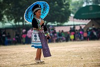 Woman in a traditional dress, costume, New Year festival, Hmong hill tribe, ethnic minority, Chiang Mai province, northern Thailand, Thailand, Asia