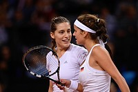 Julia Goerges and Andrea Petkovic, GER, discussing strategy, Ladies´ Tennis, Doubles, FedCup, Fed Cup, World Group Play_offs, Germany vs Australia, Po...