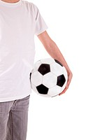 body of a boy holding a soccer ball, isolated on white background. Studio shot.