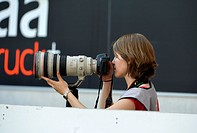Female press photographer, WIRSOL, Rhein_Neckar_Arena, Sinsheim, Baden_Wuerttemberg, Germany, Europe