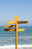 Blank yellow signpost near the ocean