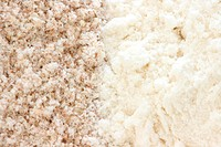 Close up view of two types of flour _ whole grain / wholemeal and smooth