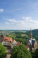 View from Bergfeste Dilsberg castle with the Protestant church, Dilsberg district, Neckargemuend, Naturpark Neckar-Odenwald nature park, Odenwald, Bad...