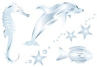 Silver Dolphin, Fish, Dragon, Perls and Starfish