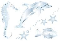 Silver Dolphin, Fish, Dragon, Perls and Starfish