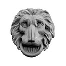 Bas_relief of the lion head isolated on white