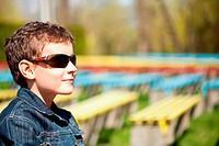 Closeup portrait of a happy schoolboy outdoor