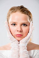 grey_eyed woman in white gloves close_up portrait