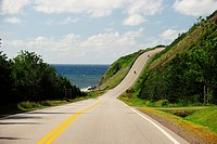 Coastal road Cabot Trail in Cape Breton National Park, Nova Scotia, Canada, North America