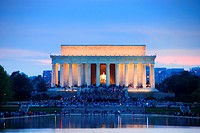 Lincoln Memorial at sunset with lake reflections, Washington DC