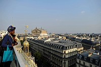 Tourists and view from a viewing platform on the Opéra Palais Garnier opera house, Paris, France, Europe