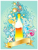 Vector illustration of design elements with bottle