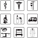 Medical symbols and equipment black silhouettes in a nine squares grid